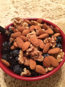 Almonds, walnuts, blackberries, blueberries, chia seeds, and oatmeal