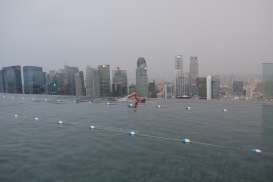 Lap swimming atop the Marina Bay Sands