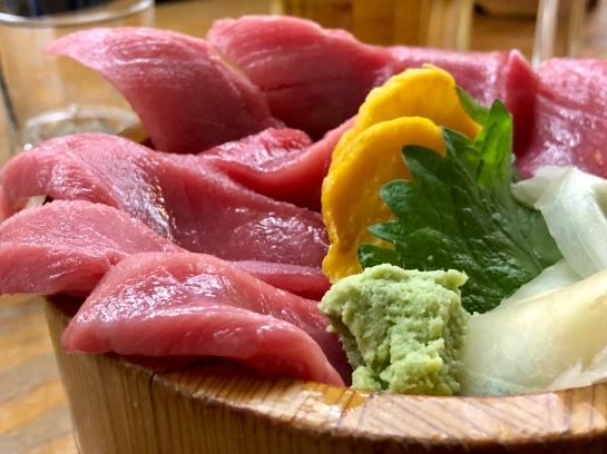 Sashimi at Tsukiji Market in Tokyo