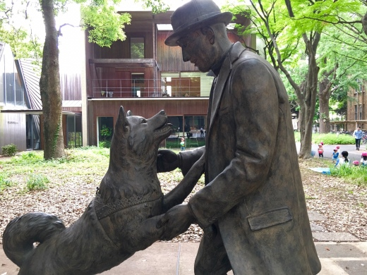 The new Hachiko and Dr. Ueno statue at the University of Tokyo